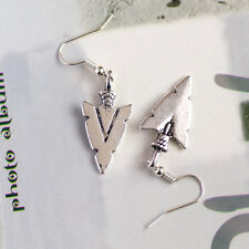 Antique Silver Arrow Head Charm Earrings, Native American Style