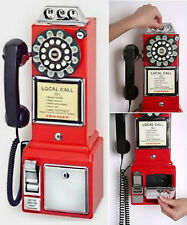 Brand New Red Crosley  Classic Old Fashioned Pay Phone Wall Mountable