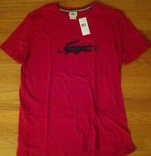 Mens Authentic Lacoste Textured Croc Logo Toyko Red/Navy Graphic T-Shirt 6 Large