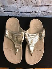 THERASHOE Therapeutic Thongs Flip Flops Sequined Sandals Women's Size 6