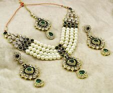 Beautiful Traditional CZ Necklace Earring Tikka Set Indian Bollywood Jewelry