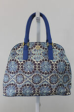 NEW TORY BURCH BLUE  OPEN DOME SATCHEL BAHAMA MULTI FLORAL HANDBAG NWOT J12
