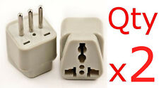 US USA American To Italy Plug Adapter 2PC Italian Outlet Converter 3 Round Pin