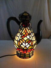 Handmade Tiffany Style Stained Glass Table Lamp Night Light Coffee Pot (2004)