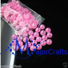 1800pcs Rose Pink AB 1.5mm Flat Back Half Round Resin Pearls Nail Art Gems C08