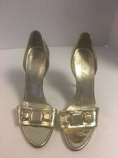 Auth Gucci Metallic Gold Leather Jeweled Stiletto Heels Size 39 1/2