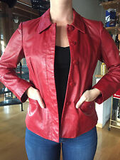 NINE WEST Women's Red 100% Leather Jacket Size 6
