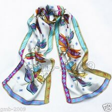 New 100% Silk White Dragonfly Abstract Animals Pattern Soft Scarf Stole Wrap