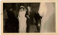 Old Antique Vintage Photograph Wedding Bride and Groom Church Flowers