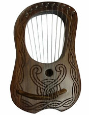 New Lyre Harp Sheesham Wood 10 Metal Strings Hand Engraved  Free Case & Key/HARP
