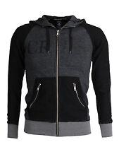 Men's New Crooks & Castles 2002 Hoodie Jacket Sweatshirt Full Zip Black Grey M