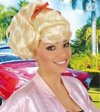 Blonde Sandy Wig Pony Tail With Ribbon Grease Fancy Dress