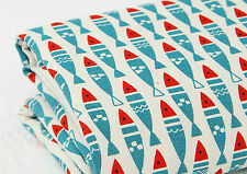Blue Fish 100% Cotton Remnant  fabric 110 x 22.5cm Quilting fabric off cut bl