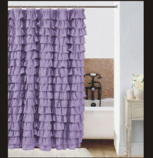 Watterfall Ruffle Fabric Shower Curtain color  lilac