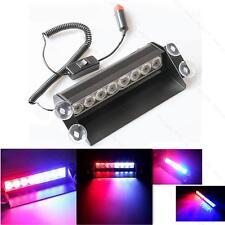 8-LED Red/Blue Car Police Strobe Flash Light Dash Emergency 3 Flashing Light B&R