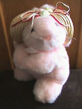 """10"""" PINK BUNNY PLUSH WITH STRAW HAT"""
