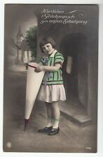 [43299] 1929 GERMAN HAND-COLORED PHOTO POSTCARD GIRL ON FIRST DAY OF SCHOOL
