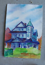 Original Watercolor Painting of  Victorian House LOOK