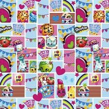 Shopkins Patch Party Toy Characters in Squares Cotton Fabric Fat Quarter