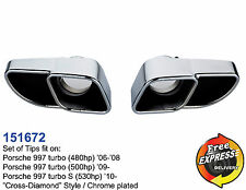 Exhaust tips s/steel Chrome plated tailpipe trims for Porsche 997 Turbo