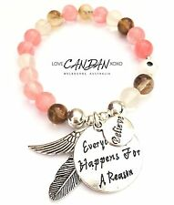 Evil Eye Everything Happens For A Reason Angel Wing Feather Charms Bracelet