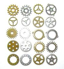 Gears Cogs 1 inch Antiqued Brass Silver Steampunk Cosplay Altered Art Lot of 20