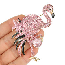 Flamingo Bird Animal Brooch Pin Pink Austrian Crystal Enamel Gold GP Chic Party