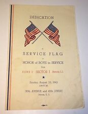 Rare World War 2  Service Flag Dedication Program! Astoria NY! 1942! Patriotic!