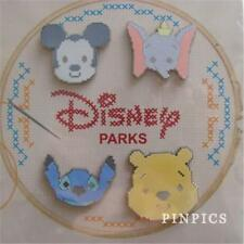 DISNEY CROSS STITCH BOOSTER POOH, DUMBO, MICKEY, STITCH 4 PINS SET 113972 NIP