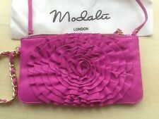 Modalu Pink leather clutch/shoulder bag with wrist chain NEW In Bag £59
