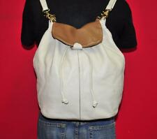 GIANNI NOTARO White Brown Leather Bucket Backpack Convertible Purse Bag ITALY