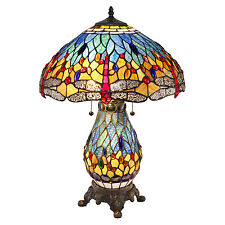 "Tiffany Style Blue Dragonfly Table Lamp W/Illuminated Base 18"" Shade"