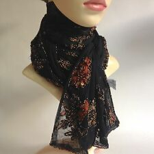 Boots Glamorous Black Fully Floral Beaded Sheer Nylon Evening Neck Scarf