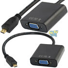 HDMI Micro Male To VGA Female Converter Adapter w/ 3.5mm Stereo Audio USB Cable