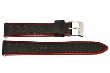 TIMEX 18MM BLACK RED PLATINUM SPORT LEATHER WATCH BAND STRAP