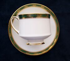 Paragon by Appointment Bone China Cup and Saucer Elgin Green Gold Border