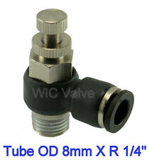 """1pc Flow Control Valve Tube OD 8mm X R 1/4"""" Metric Push In Quick Release Fitting"""