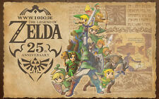 """the legend of zelda 25th anniversary  Game Fabric poster 40"""" x 24"""" Decor 137"""