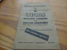LUCAS MAINTENANCE INSTRUCTION ELECTRIC LIGHTING IGNITION EQUIPMENT BOOKLET