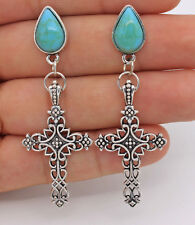 "2.3"" Hollow Cross Flower Waterdrop Turquoise Resin Bohemia Dangle Women Earrings"