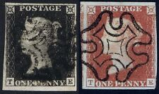 1840 1d Black Pl 9 TE  4m Fine Used Matched in Red Cat. £815.00