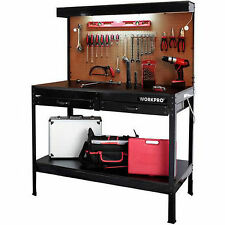 Garage Work Bench With Light Steel Tools Workbench Wood Table Home Workshop New