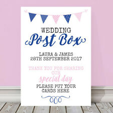 Personalised Pink & Blue Bunting Wedding Post Box Place Your Cards Sign (PBB12)