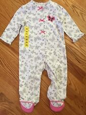 NWT Little Me Footed One Piece Pajamas Size 9M Butterfly Bows