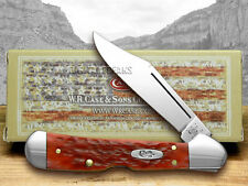 CASE XX Dark Red Jigged Bone Mini Copperlock CV Pocket Knives Knife
