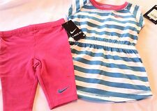 new~girls NIKE outfit set top shirt tights pants size sz 12 months blue pink