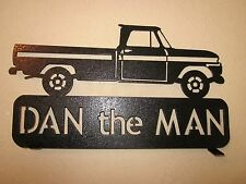 2 SIDE  1965 CHEVY STYLESIDE PICKUP MAILBOX TOPPER(YOUR NAME) BLACK POWDER COAT