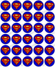 30 x Superman Logo Edible Rice Wafer Paper Cupcake Toppers