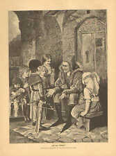 Jester Entertains Children, Boy With Toy Crossbow, Vintage, 1890 Antique Print