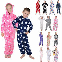 Kids Boys Girls Hooded Fleece All In One Pyjamas Onesie PJ Nightwear onesiewow5